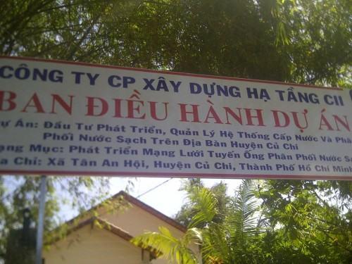Ban điều hành dự án cấp nước sạch Củ Chi